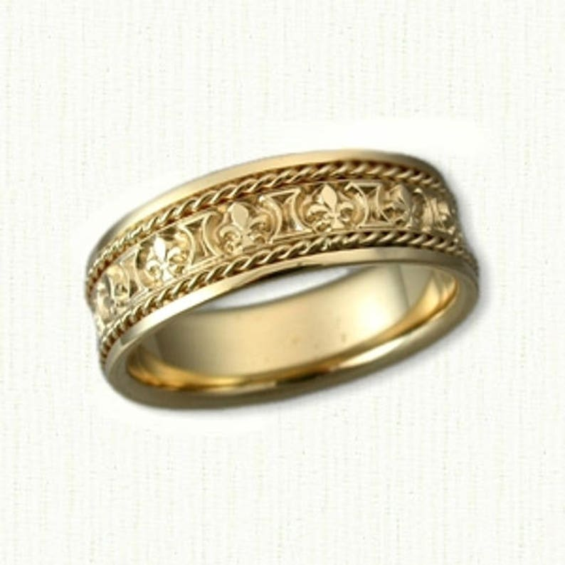 Custom Fleur De Lis Wedding Band with Rope Trim 6.0-7.0 mm width All Metals Available