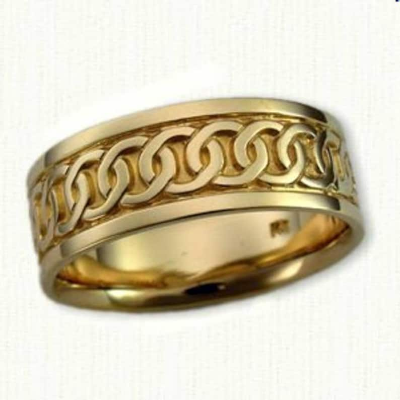 Regular Etch Celtic Links Knot Band All Metals Available 7mm