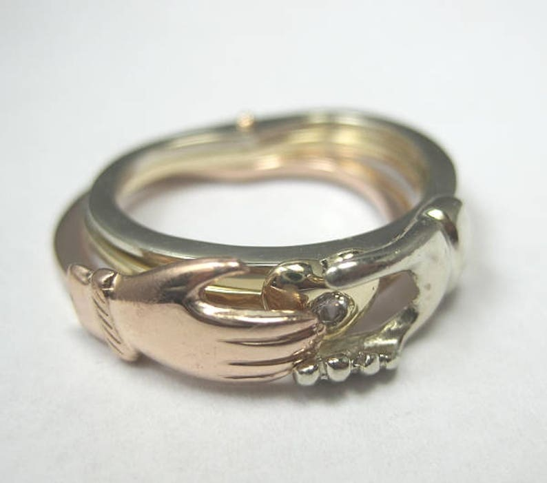 Bezel Set Custom Ladies 14kt Tri Color Gold Gimmel Ring with a 2.5 mm Round Diamond