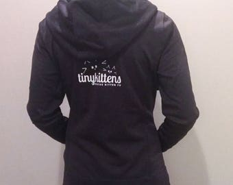 XS - Charcoal - Official TinyKittens Hoodie (Womens) - 100% of proceeds support rescue efforts!