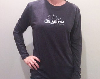 XS - long sleeve - Charcoal - UNISEX - Official TinyKittens T-Shirt - 100% of proceeds support animal rescue!