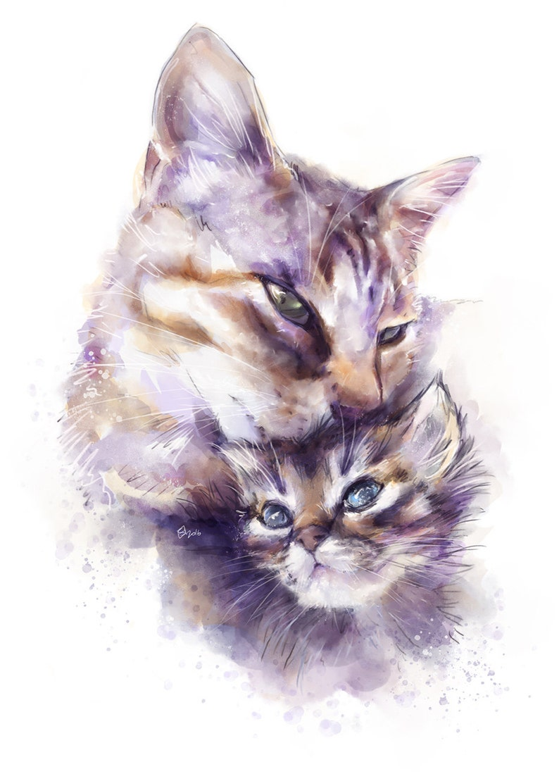 Watercolor painting of Nano and Zetta for download image 0