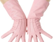 Sugar Pink Mid Length Leather Gloves