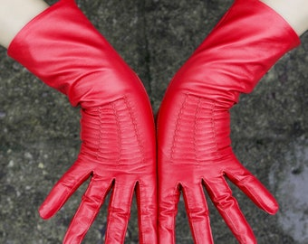Red Mid Length Leather Gloves
