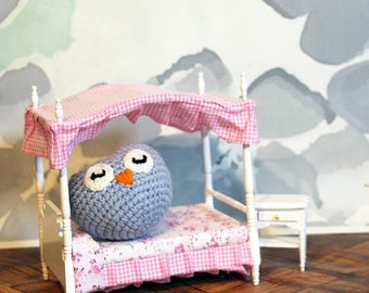 Powder Blue Owl Stuffed Animal, Crochet Amigurumi Plush Toy