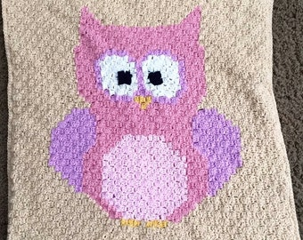 Baby Owl Blanket, Crochet Baby Afghan, Pink and Purple Bird, Double Layer, Reversible Crib Blankie, Nursery Decor, Nature Theme, Winter Warm