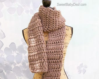 Brown Acrylic Wool Blend Scarf, Crochet Adult Chunky and Thick Winter Scarf