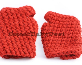 Red Fingerless Gloves, Crochet Texting Gloves, Chunky Crochet Wristers, Winter Clothing, Women's Accessory, Valentine's Day Gifts For Her
