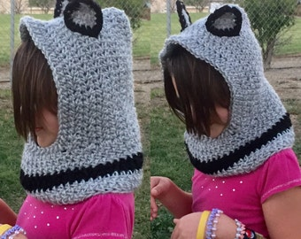 Gray Wolf Hood, Crochet Animal Hooded Cowl, Whimsical Forest Hat, Child's Outerwear, Warm Winter Clothing, Costume Cosplay Scarf