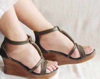 c1b524205f99 OLIVE VINTAGE PLATFORM Shoes   Leather Sandals in Olive Platform Heels    Feminine Womens Wedges in Soft Leather. 9 Colors   Jennifer.