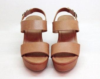 506ce373aca TAN LEATHER PLATFORM Shoes Women