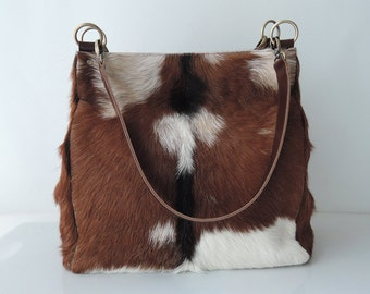 Diaper Bag Bucket Bag  Overnight Bag w Handmade Tassels. CALF HAIR TOTE Bag  Market Weekend Bag  Document Bag in Tan White Cow Hide