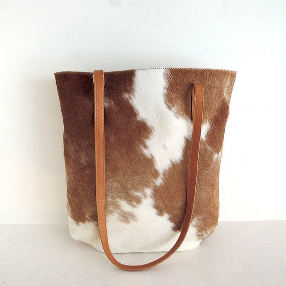 de65659a3350 COWHIDE TOTE BAG Brown and White Hair on Hide Bag Market