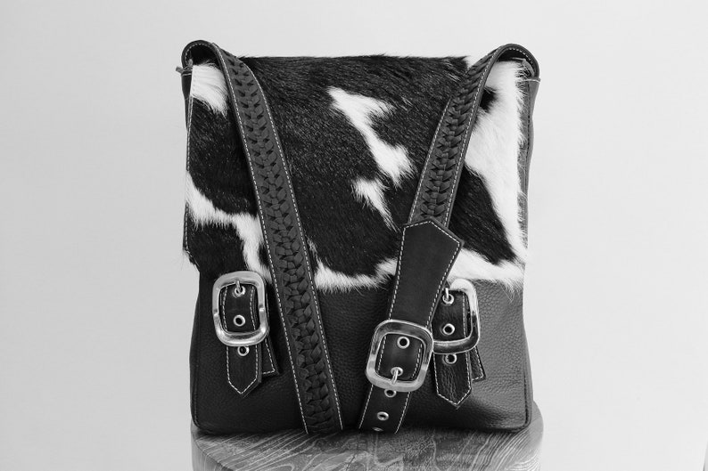 20471660a BRAZIL COWHIDE BAG in Black White / Women's Leather   Etsy