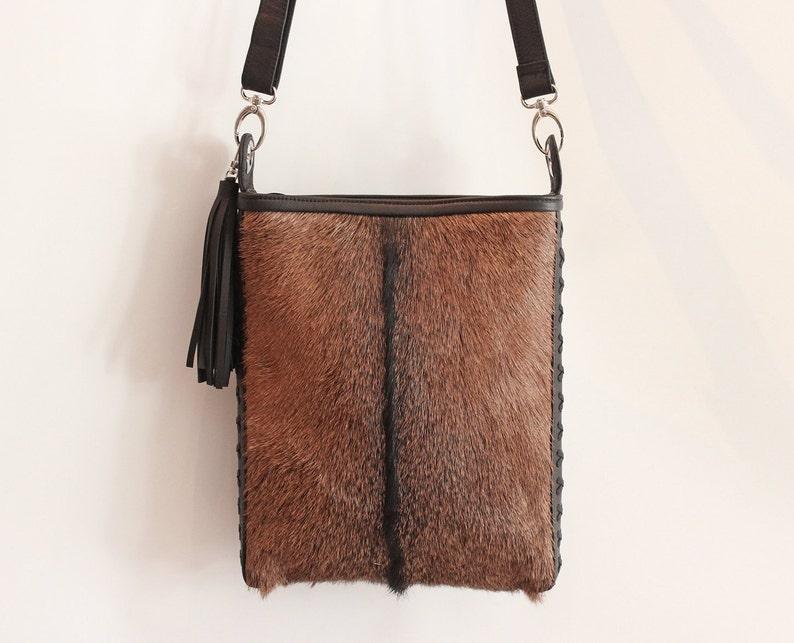 aa211a700b40 BROWN HIDE HAIR Bag Cowhide Tote Bag w  Leather Tassels.