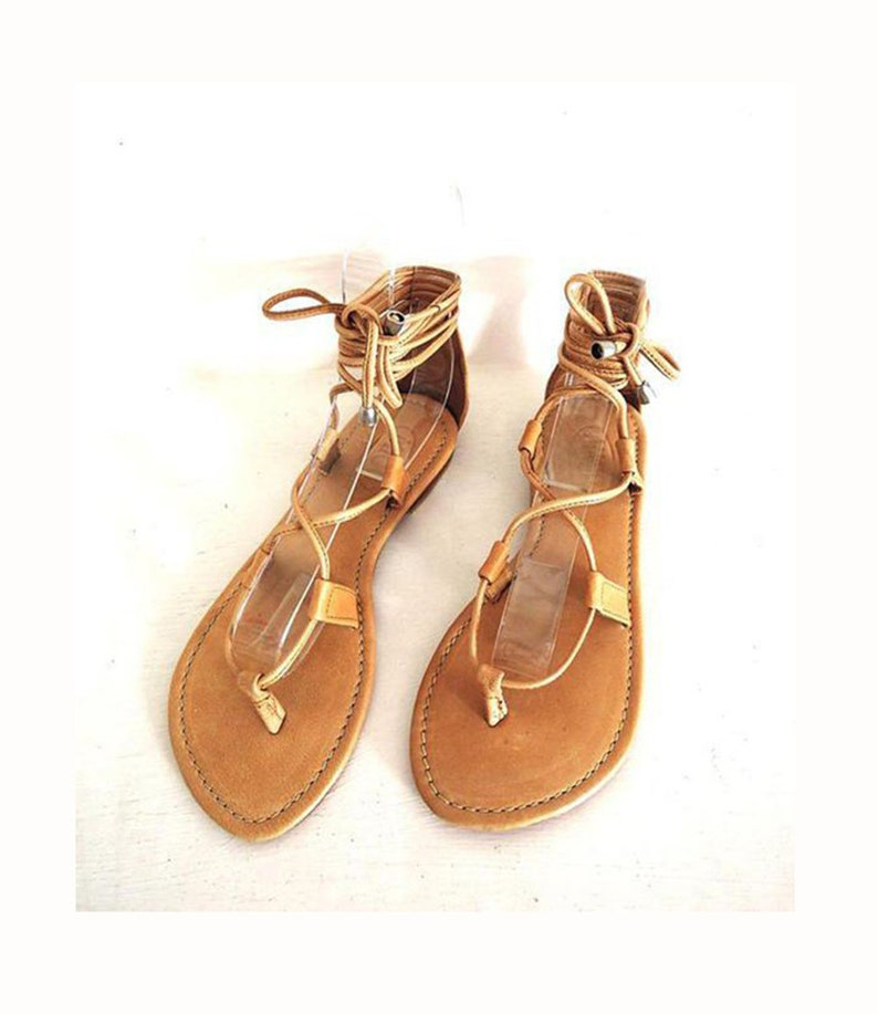 TAN LEATHER SANDALS, Bohemian Sandals, Summer Flats, Lace Up Sandals. Flat Sandals, Boho Sandals, Women Sandals, Small Size UsA 6 to 12.