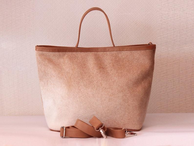 COWHIDE BAG Leather in Cream Calf Hair Tote Bag /  Women image 0