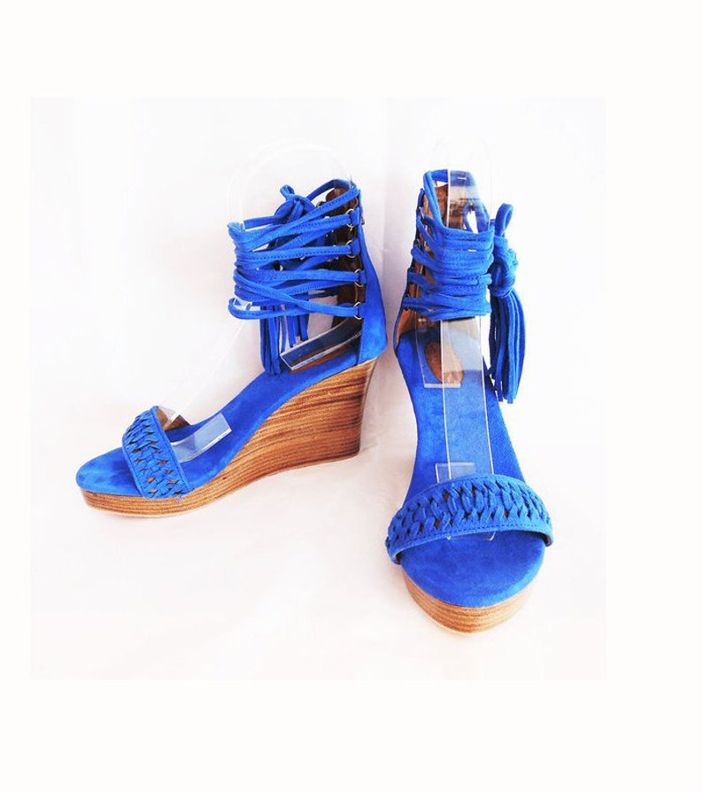 dcc3d052494 PLATFORM SHOES for women in Blue Suede. Platform Heels w  Handmade Chinese  Knot Leather Tassels. Beautiful Lace Up Shoes.