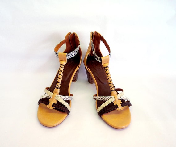 820b1c6fb SNAKESKIN SHOES BROWN Leather Sandals with Block Heels.