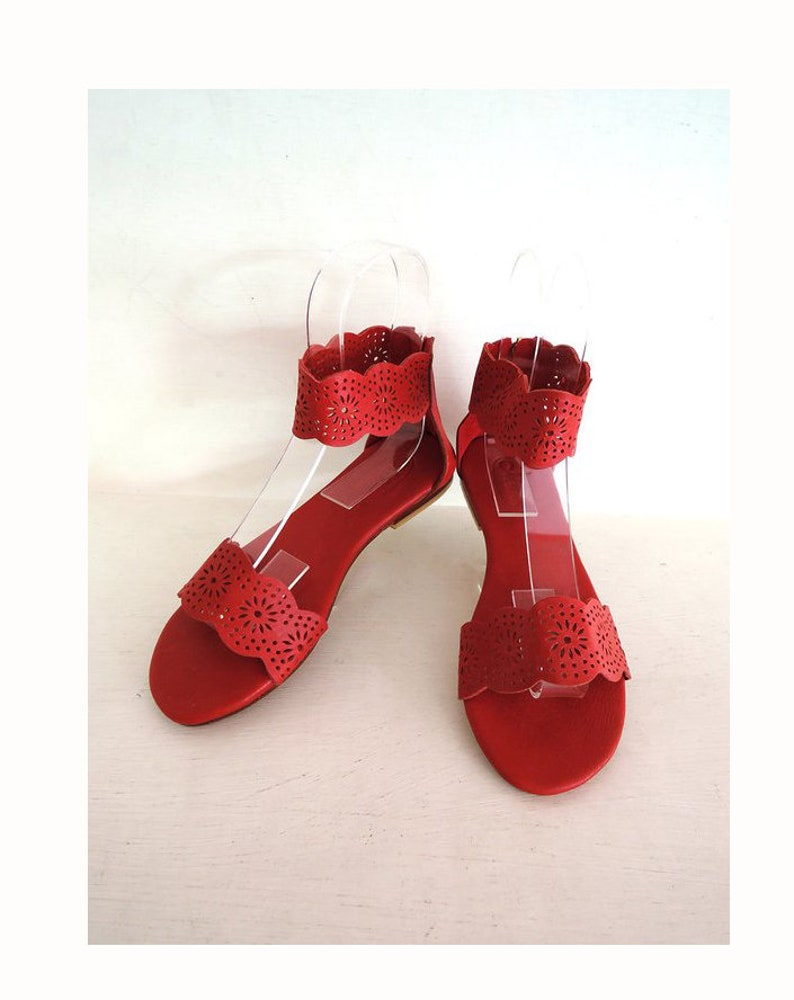 6a00bbc6ccf0 RED LEATHER SANDALS Women in Hand Tooled Genuine Leather