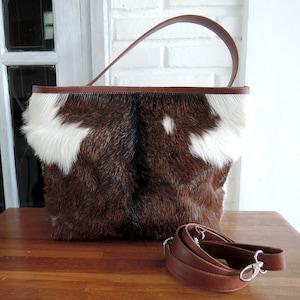 BLACK COWHIDE BAG Leather  Satchel Calf Hair Bag  Messenger Bag Crossbody Tote w Flap Unisex Shoulder Bag in Black White Cowfur Country.
