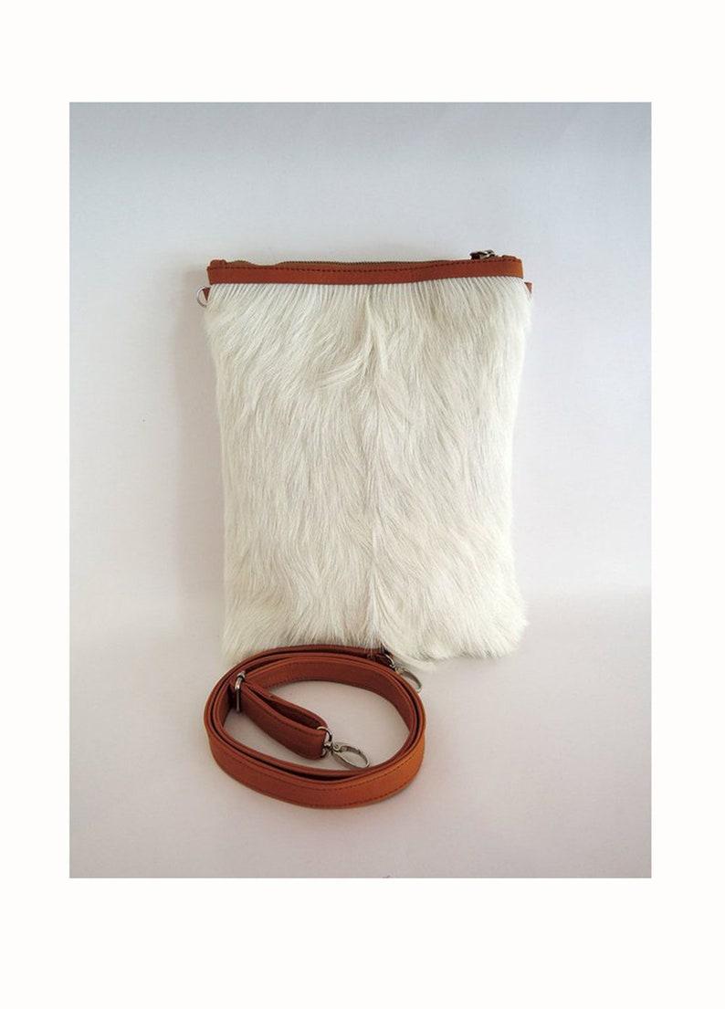 daf472b41b6a WHITE CALF HAIR Tote Bag / Gorgeous Small Cross body Purse in   Etsy