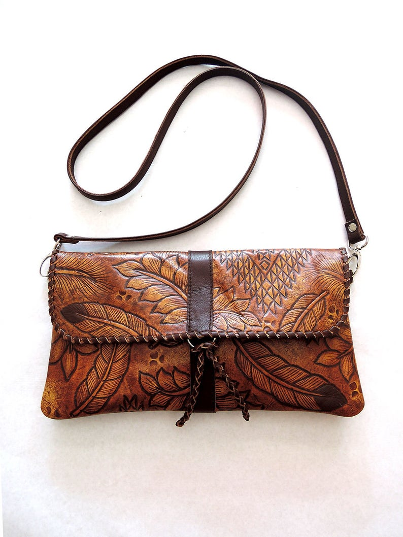 7fd881ddf6 HAND TOOLED LEATHER Bag in Vintage Brown. Tooled Leather