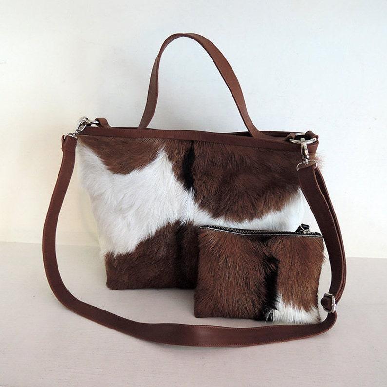 6cb5b753c HAIR ON HIDE Bag Brown Leather Tote Cowhide Bag. Cowhide | Etsy