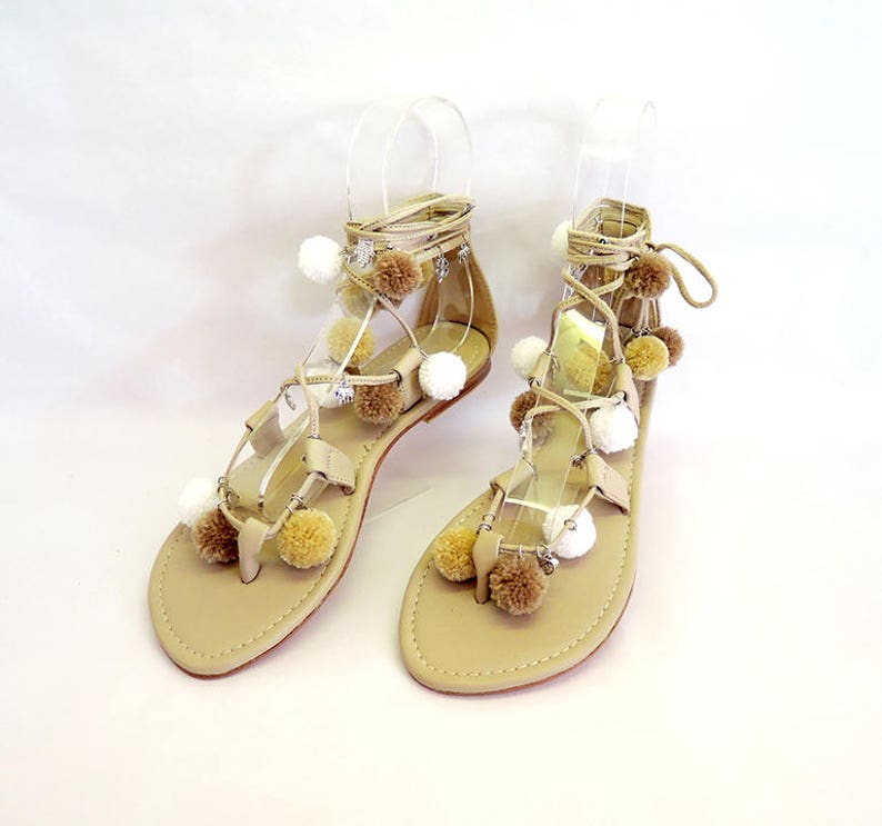 5a455ec24fda POM POM SANDALS Lace Up in White Cream. Greek Gypsy Boho