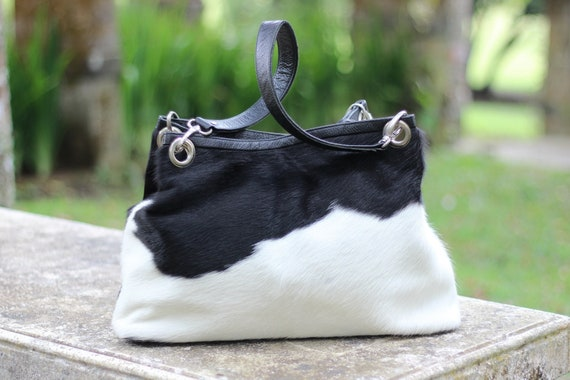 LEOPARD PRINT BAG Hair on Hide Bag CowFur Bag Pony Hair Bag Cowhide Purse Polka Dots CowHair Bag Furry Bag Animal Print  Birthday Gift