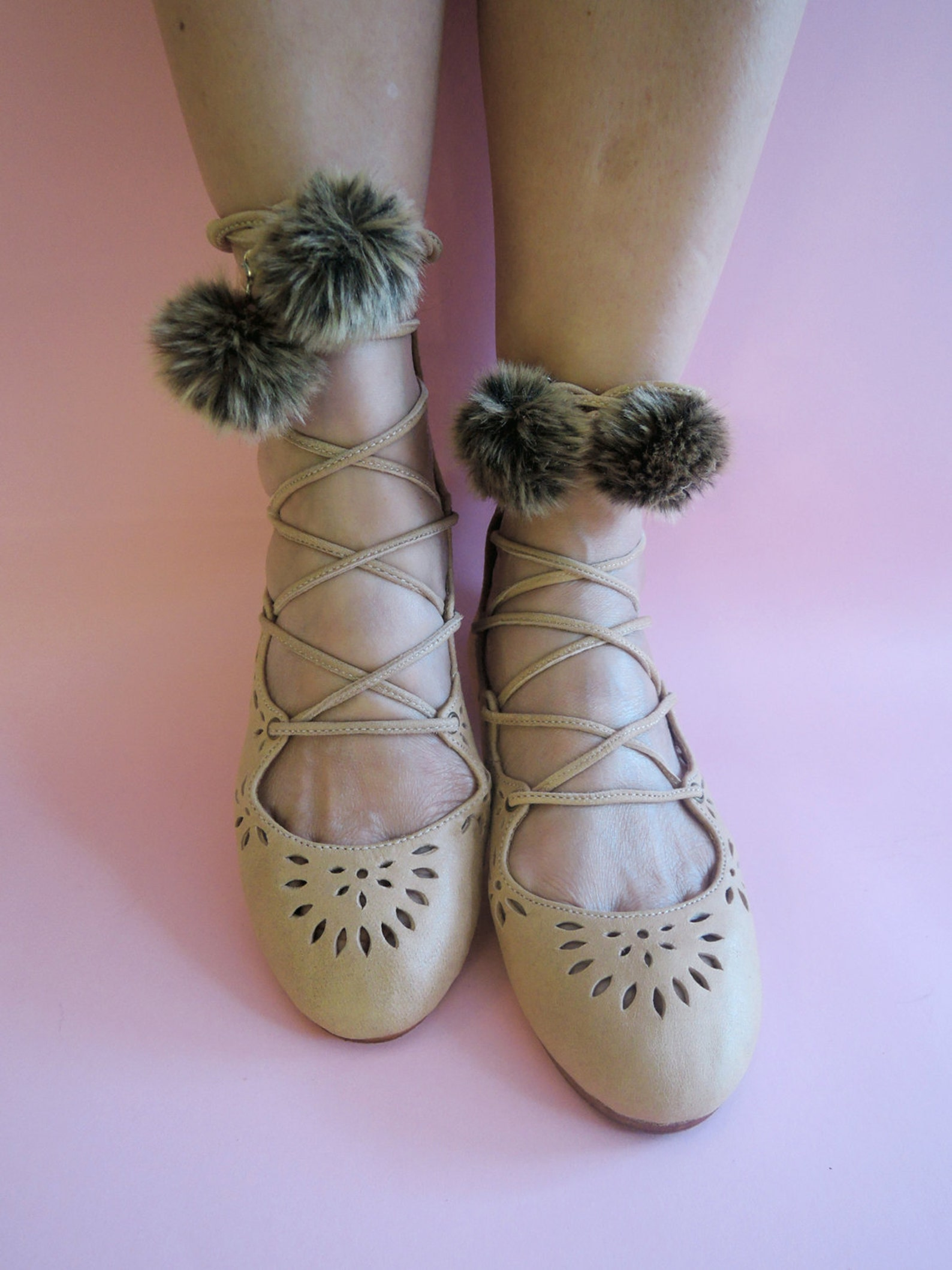 kathy ballet shoes with pom poms. tan leather sandals for women. ballet flats w/ ribbon lace up straps. hand tooled cut work. 10