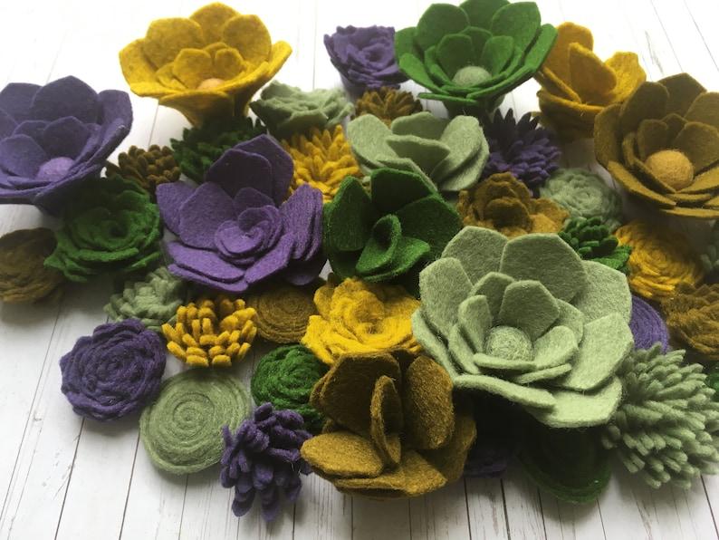 Felt Flower Succulent Plants (40) 100% Wool Felt/Artificial  greenery/Vertical Garden/Wool Felt Flowers