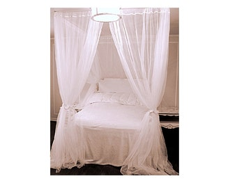 Custom Bed Canopy With Chiffon Curtains - Four Poster Bed Canopy Bedroom Curtains Sheer Princess Drapes White Drapery Panel Home Decor