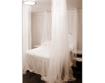 Bed Canopy With Curtains Fits Queen Size Or Smaller White Lace Sheer Shabby And Chic Bedroom Panels Bohemian