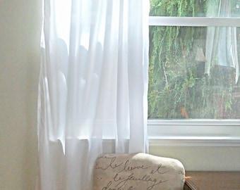 White Cotton Batiste Curtain Custom Order - One Panel - Simple, Drapery Panel, Light Filtering Semi-Sheer Home Drapes, white cotton curtains