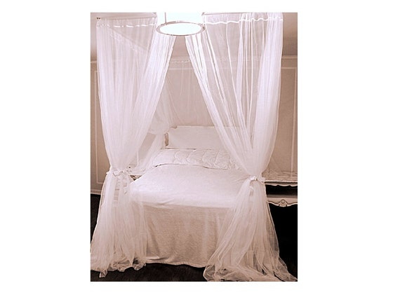 White Custom Bed Canopy With Chiffon Curtains - Four Poster Bed Canopy  Bedroom Curtains Sheer Princess Drapes White Drapery Panel Home Decor