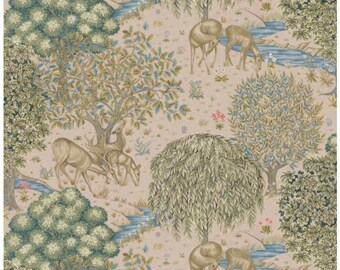 "One Curtain Panel ""FreeSpirit Granada The Brook Small Blush"" Fabric, FreeSpirit Fabrics, Morris & Co. Bold, Elegant Home Decor"