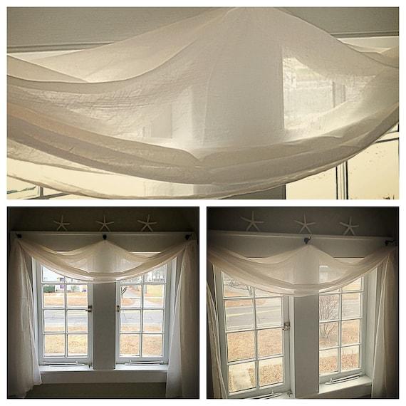Long Scarf Drapery Panels Crushed Voile Sheer Window One Panel Elegant Handmade Home Decor Sheers Wide Custom Order Curtains
