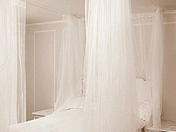 Twin Size Boho Bed Canopy Curtains- White Bohemian Bedroom Lace Net  Curtains Four Post Hanging Sheer Curtains Custom Elegant Ceiling Drapes