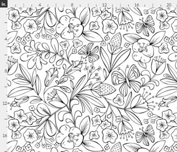 - Enchanted Garden Coloring Book Floral Black And White One Etsy