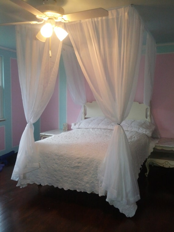 DIY Bed Canopy Kit - Custom Ceiling Suspended Hanging Faux Four Poster Bed  - Wire Curtain Rod for Bedroom Privacy - Bed Tent Alternative