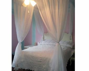 König Größe Voile Prinzessin Betthimmel   Shabby Und Chic Himmelbett  Gardinen Elegante Schlafzimmer Dekor Hängenden Weißen