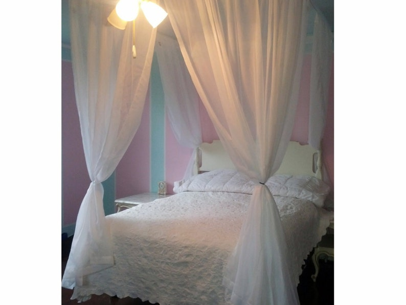 Full Size Voile Princess Bed Canopy Shabby Chic Decor Etsy
