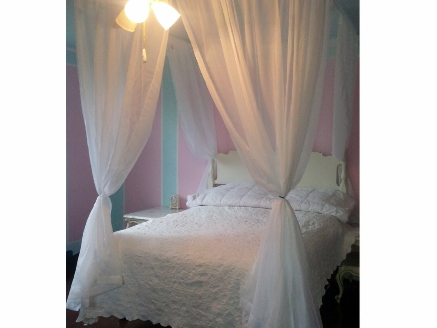twin size voile princess bed canopy four poster bed etsyDecorating Bed With Curtains #21