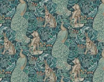 "One Curtain Panel ""FreeSpirit Standen Forest Teal"" Fabric, FreeSpirit Fabrics, The Original Morris & Co. Bold, Elegant Home Decor"