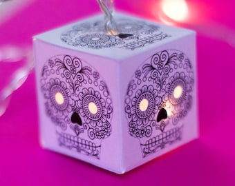 Sugar Skull fairy lights string of lights LED lit lanterns fairy lights colour in your own way for bedroom or nursery