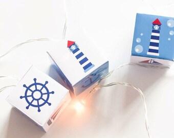 Nautical nursery night lights string of lights LED lit lanterns fairy lights for bedroom or nursery