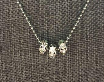 Three Tiny Round Bead Minimalist Necklace
