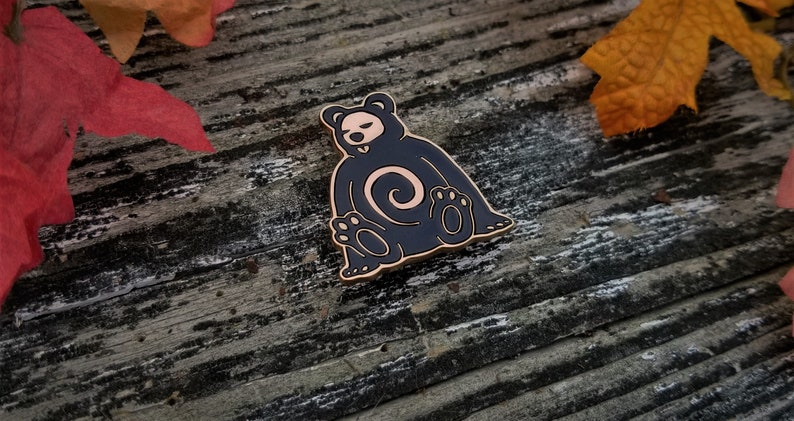 Keeper  Adorable Cute Lazy Sleeping Bear Spirit Enamel Pin image 0