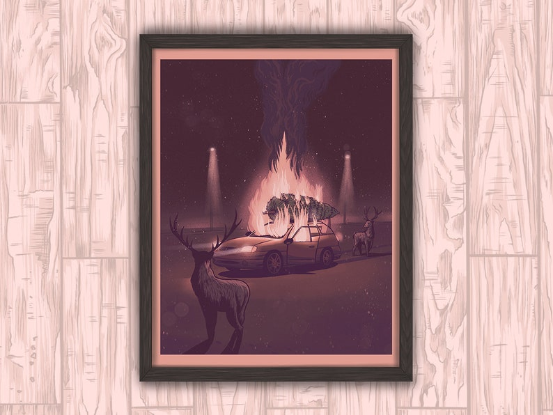 The Bonfire  Christmas Holiday Art Print Gift Poster Decor by image 0